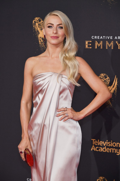 More Pics of Julianne Hough Tube Clutch (8 of 16) - Tube Clutch Lookbook - StyleBistro [fashion model,clothing,dress,shoulder,fashion,cocktail dress,hairstyle,blond,lady,beauty,arrivals,julianne hough,los angeles,california,microsoft theater,creative arts emmy awards]
