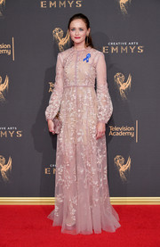 Alexis Bledel was demure and elegant in an embroidered blush gown by J. Mendel at the 2017 Creative Arts Emmy Awards.