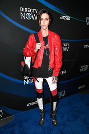 Ruby Rose layered a red leather jacket over a black tee for the 2017 DIRECTV NOW Super Saturday Night concert.
