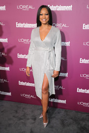 Garcelle Beauvais chose a stylish silver wrap dress for the Entertainment Weekly pre-Emmy party.