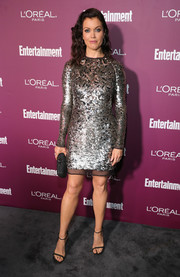 Bellamy Young got glitzed up in silver sequin dress by Tom Ford for the Entertainment Weekly pre-Emmy party.