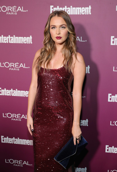 More Pics of Camilla Luddington Envelope Clutch  (1 of 2) - Camilla Luddington Lookbook - StyleBistro [red carpet,clothing,dress,fashion model,premiere,hairstyle,cocktail dress,fashion,brown hair,long hair,carpet,camilla luddington,sunset tower,west hollywood,california,entertainment weekly,party,entertainment weekly pre-emmy party]