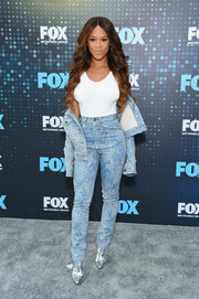 Serayah McNeill rocked high-waisted print jeans and a matching jacket at the 2017 Fox Upfront.