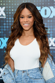 Serayah McNeill looked glam with her mermaid waves at the 2017 Fox Upfront.