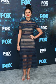 Morena Baccarin attended the 2017 Fox Upfront wearing a sheer navy midi dress by Self-Portrait.