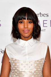 Kerry Washington looked youthful wearing this short wavy 'do with blunt bangs at the 2017 Forbes Women's Summit.