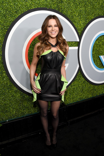 Kate Beckinsale was edgy-sexy in a black Emanuel Ungaro leather halter dress with green ruffle detailing at the 2017 GQ Men of the Year party.
