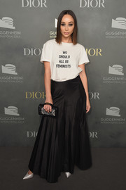 Cara Santana was casual in a 'We Should All Be Feminists' T-shirt by Dior at the 2017 Guggenheim International pre-party.