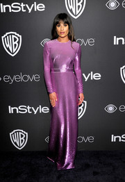 Lea Michele was a sight to behold in a shimmering lavender sequin gown by Emanuel Ungaro at the InStyle and Warner Bros. Golden Globes post-party.