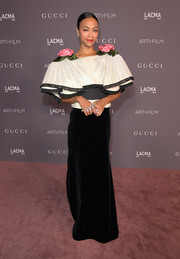 Zoe Saldana made a romantic choice with this flamenco-inspired Gucci gown, featuring rose-accented shoulders and voluminous sleeves, for the 2017 LACMA Art + Film Gala.