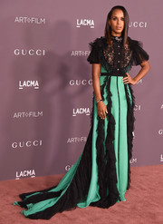 Kerry Washington got dolled up in a black and green ruffle gown by Gucci for the 2017 LACMA Art + Film Gala.