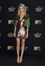 Allison Williams looked totally disco-ready in a color-block sequin dress by Galia Lahav at the 2017 MTV Movie and TV Awards.