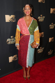 Tracee Ellis Ross looked exuberant in a color-block wrap dress by Rosie Assoulin at the 2017 MTV Movie and TV Awards.