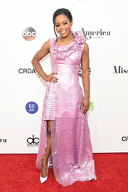Gabrielle Douglas went the futuristic route in this geometric-patterned metallic-pink gown by Rubin Singer for the 2017 Miss America competition.
