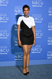 Jennifer Hudson was modern-chic in a black Saint Laurent wraparound dress/skirt hybrid teamed with a white tee at the 2017 NBCUniversal Upfront.