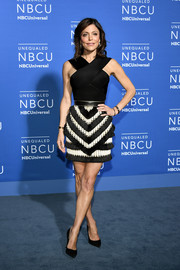 Bethenny Frankel slayed in a skintight black top with a crisscross neckline at the 2017 NBCUniversal Upfront.