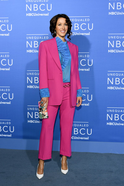 Jennifer Beals caught eyes with her hot-pink Cedric Charlier suit teamed with a blue ruffle blouse at the 2017 NBCUniversal Upfront.