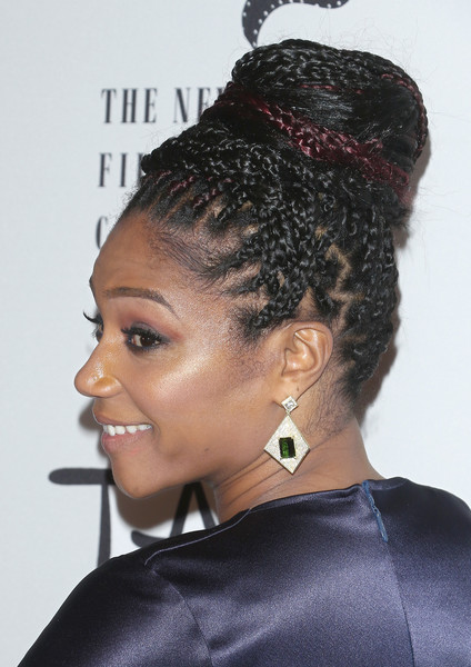 More Pics of Tiffany Haddish Studded Clutch (1 of 5) - Tiffany Haddish Lookbook - StyleBistro [hair,hairstyle,black hair,bun,chignon,beauty,long hair,hair coloring,beehive,makeover,tiffany haddish,hair detail,new york city,tao downtown,new york film critics awards]