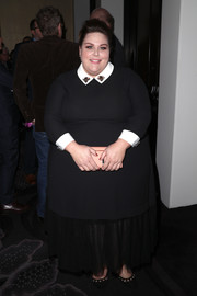 Chrissy Metz donned a black gown with a contrast collar and cuffs and a sheer hem for the TCA Awards.