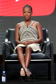 Samira Wiley was tribal-chic in a geometric-patterned halter dress on day 11 of the 2017 Summer TCA Tour.