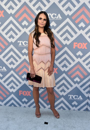 A plum velvet clutch, also by Jimmy Choo, completed Jordana Brewster's ensemble.
