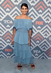 Sofia Black-D'Elia worked the off-the-shoulder trend with this pastel-blue number by Staud at the 2017 Summer TCA Tour.