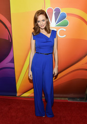 Heather Graham was modern and chic in an electric-blue jumpsuit with an asymmetrical neckline at the 2017 Summer TCA Tour.