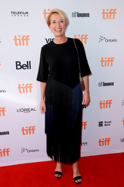 Emma Thompson attended the TIFF premiere of 'The Children Act' wearing a fringed two-tone maxi dress by Stella McCartney.