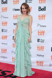 Rachel McAdams got frilled up in a mint-green lace and ruffle gown by Elie Saab for the TIFF premiere of 'Disobedience.'