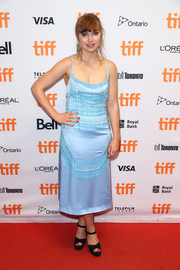 Imogen Poots chose a fringed pastel-blue slip dress by Prada for the TIFF premiere of 'I Kill Giants.'