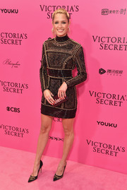 Helena Bordon went for edgy glamour in a studded black dress by Balmain at the 2017 Victoria's Secret fashion show after-party.