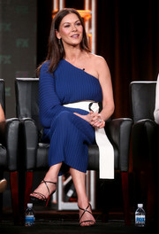 Catherine Zeta-Jones looked ageless in a one-sleeve blue and white dress by Solace London at the 2017 Winter TCA Tour.