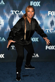 Queen Latifah was casual and sporty in a black zip-up jacket at the 2017 Winter TCA Tour Fox All-Star Party.