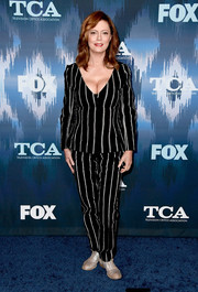 Susan Sarandon kept it relaxed in a black-and-white striped pantsuit by Protagonist at the 2017 Winter TCA Tour Fox All-Star Party.