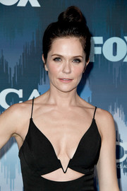 Katie Aselton swept her hair up into a cute top knot for the 2017 Winter TCA Tour Fox All-Star Party.