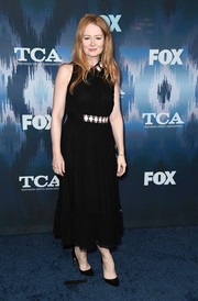 Miranda Otto chose a sleeveless black Kate Spade frock with a bejeweled neckline and waist for the 2017 Winter TCA Tour Fox All-Star Party.
