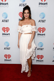 JoJo Fletcher was a boho babe in a cropped white off-the-shoulder top by Free People at the iHeartCountry Festival.