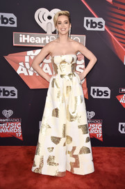 Katy Perry looked effortlessly glam in a strapless, wide-leg brocade jumpsuit by August Getty Atelier at the 2017 iHeartRadio Music Awards.