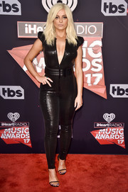Bebe Rexha paraded her curves in a shimmering black catsuit at the 2017 iHeartRadio Music Awards.