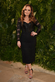 Leah Remini rocked a black Dolce & Gabbana corset dress with lace sleeves at the 2018 A+E Upfront.