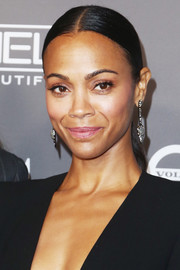 Zoe Saldana wore her hair in a slicked-down ponytail at the 2018 Baby2Baby Gala.
