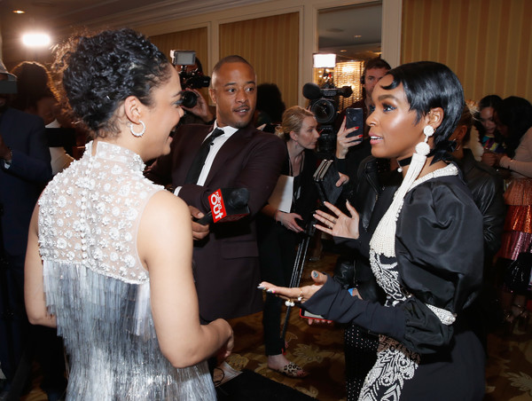 More Pics of Janelle Monae Beaded Dress (3 of 9) - Janelle Monae Lookbook - StyleBistro [red carpet,event,fashion,fashion design,formal wear,fun,ceremony,smile,haute couture,party,janelle monae,tessa thompson,beverly hills,california,regent beverly wilshire hotel,l,essence black women in hollywood oscars luncheon]