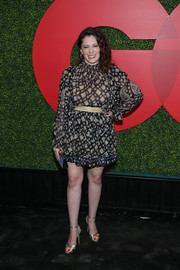 Rachel Bloom went for a leggy look in a paisley-print mini dress at the 2018 GQ Men of the Year party.