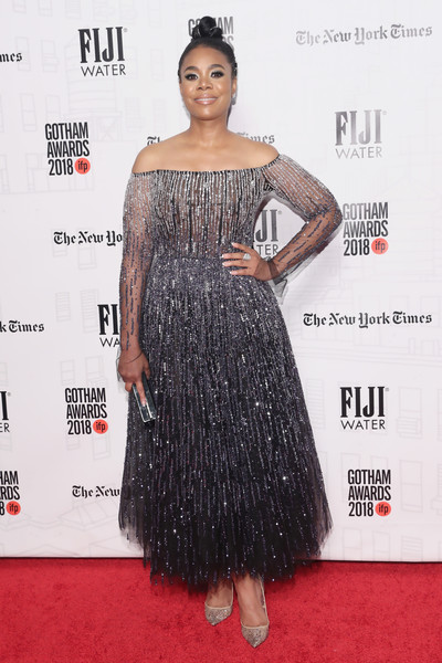Regina Hall looked princess-y in a fully embellished off-the-shoulder gown by Pamella Roland at the 2018 Gotham Independent Film Awards.