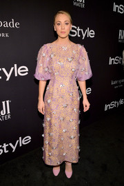 Kaley Cuoco was whimsical-chic in a lilac and yellow floral dress with silver embellishments at the 2018 InStyle Awards.