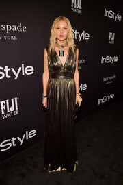 Rachel Zoe looked divine in a pleated gold gown from her own label at the 2018 InStyle Awards.