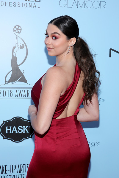 More Pics of Kira Kosarin Jewel Tone Eyeshadow (1 of 4) - Makeup Lookbook - StyleBistro [hair,clothing,shoulder,dress,hairstyle,cocktail dress,beauty,joint,neck,premiere,make-up artists,kira kosarin,california,los angeles,the novo,microsoft,make-up artists and hair stylists guild awards]