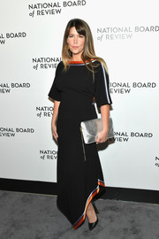 Patty Jenkins opted for a black Diane von Furstenberg gown with an asymmetrical hem and colorful trim when she attended the 2018 National Board of Review Awards Gala.