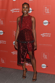 Issa Rae sparkled like a gem in this beaded and sequined top by Altuzarra at the 2018 Sundance Film Festival Artist at the Table reception.