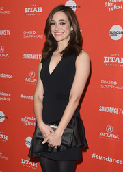 Emmy Rossum chose a flirty David Koma LBD with a V neckline and a ruffled skirt for the Sundance premiere of 'A Futile and Stupid Gesture.'